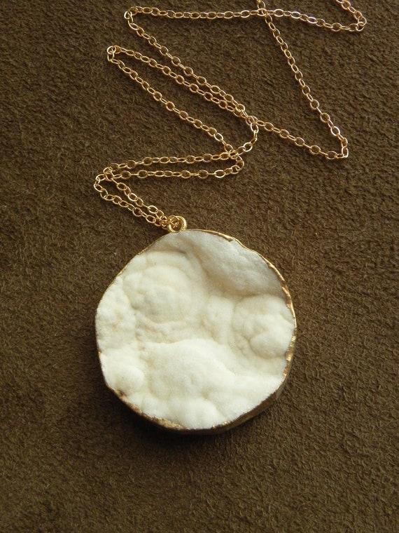 Vanilla Druzy Chalcedony Rosette Coin Pendant on 14kt Gold Filled Chain
