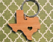 Austin, Texas Love Wood Key Ring