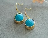 Small turquoise earrings, Gold and turquoise earrings, gold turquoise earrings, Oval turquoise earrings, Turquoise jewelry, Blue turquoise