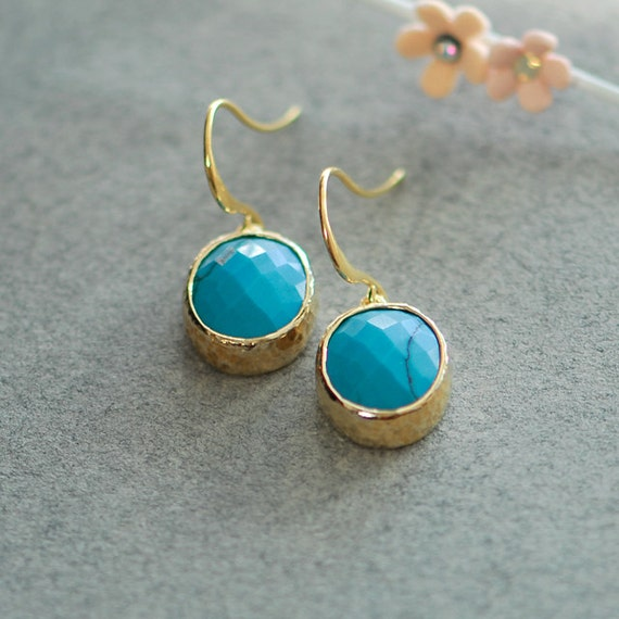 Small Blue Earrings: Small Turquoise Earrings Gold And Turquoise Earrings By