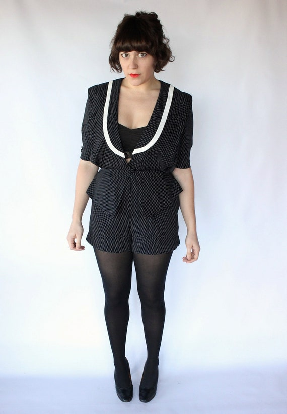SALE Vintage 80s Black Polka Dot Play Romper // Sexy Party Playsuit