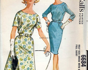 Vintage 1962 Bateau Neck Dress Angled Armholes Slim or Flared Skirt...McCalls 6684 Bust 33 UNCUT