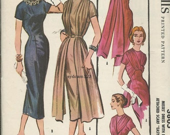 Vintage 1956 Wiggle Dress Pattern Four Way Draped Scarf 1950s McCall's 3865 Bust 34 UNCUT