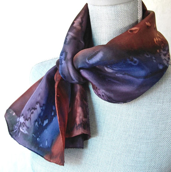 Silk Scarf Hand Painted in Brown, Plum and Navy