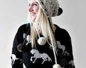 Cable Knit Pompon Beanie- Slouch Hat