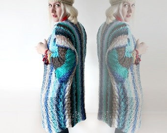 Hand Knitted Cardigan Long Sheer Cardigan Knit Cardigan Womens Cardigan Medium Size Cardigan Blue Bohemian Knits Crochet Cover Up