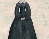 Jane Eyre 5x7 art print.  Text background. SALE enter HOLIDAY coupon code to receive 30% off all orders over 15 dollars