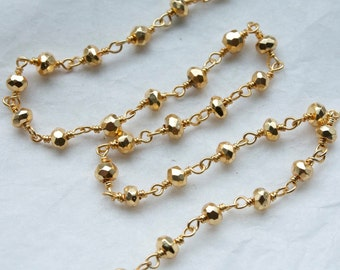 Sale 6 Feet Golden Pyrite Gemstones with Gold Wired Chain // Unfinished Chain // Jewelry Supply