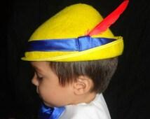 Custom Pinocchio Costume Hat Yellow Tyrolean Alpine Style hat tan wool felt colbalt blue satin ribbon red feather plume  Sml,Med,Lrge
