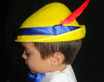 Custom Pinocchio Costume Hat Yellow Tyrolean Alpine Style hat tan wool felt colbalt blue satin ribbon red feather plume  Sml,Med,Lrge