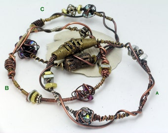 Mixed Metals Freeform Wired Bangles