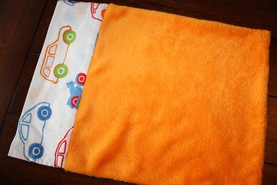 ON SALE- Toddler Pillowcase for 12x16 Small Pillow- IKEA Cars and Orange Plush