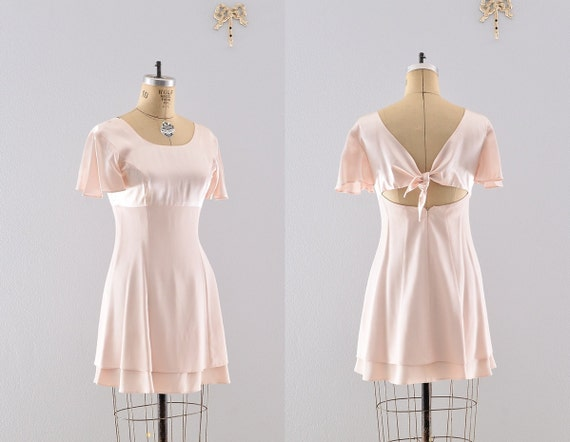 vintage dress / porcelain peach dress / two tier skirt party dress