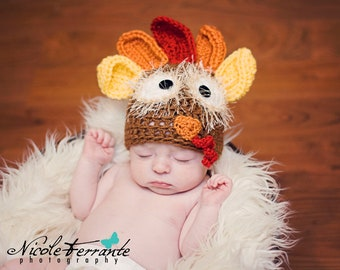 Turkey Hat Crochet Pattern- 7 sizes from newborn to 10 years old, instant download,  perfect for Thanksgiving, permission to sell hat
