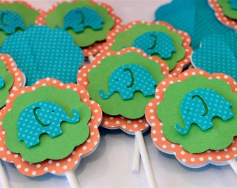 Elephant Orange Turquoise Blue and Lime Green Cupcake Toppers Polka Dot Birthday Baby Boy Shower Party Decorations