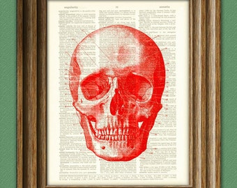 Diagram of a RED SKULL over an upcycled dictionary page book art print