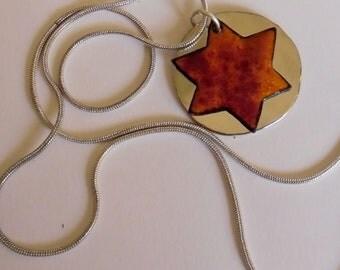 Enameled Star of David from Israel - Firey Hues Orange with Alpaca