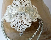 Chain Necklace Shoulder Harness With Beaded Crochet