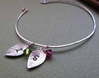 Leaf Charm Cuff Bracelet - Personalized Bangle Bracelet - Two Initial Birthstone Leaf Bangle Cuff - Leaves Charms Bracelet - initials cuff