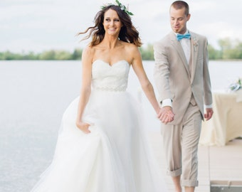 Alencon Lace and Tulle Ballgown Wedding Dress