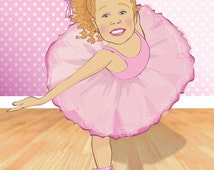 Kids Wall Art - Personalized Ballerina Print - Illustrated from your photo - PRINTABLE FILE