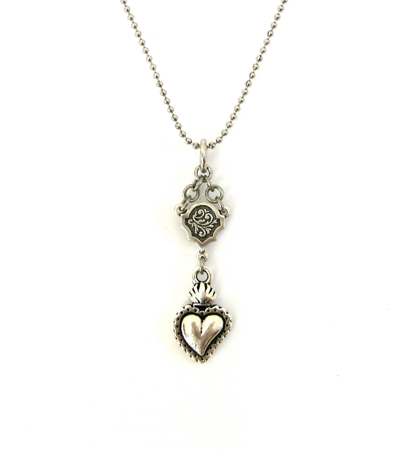 silver sacred heart necklace ex voto flaming heart celtic