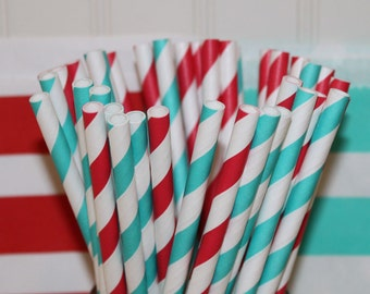 Dr. Seuss Party Paper Straws, Kids, Birthday, Cat In The Hat, Storybook, Cute, ( 30 ct. ) Red and Aqua Blue Striped Straws with DIY Flags,