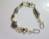 Go Fish in silver and gold - Handmade wire wrapped bracelet
