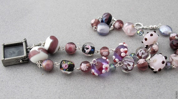 Vintage Girl Photo Necklace  Lampwork  Flower Beads Pink Grey Violet Purple Lavender