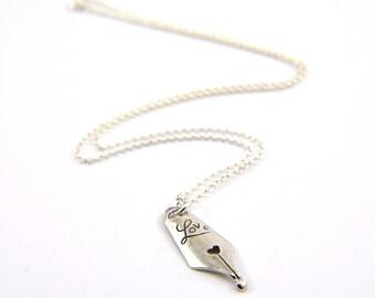 Sterling Silver Love Pen Nib Necklace