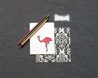 Flamingo Origami Stationery
