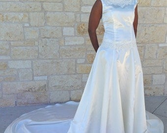 Wedding gown with alencon lace, cathedral train, lace bridal gown
