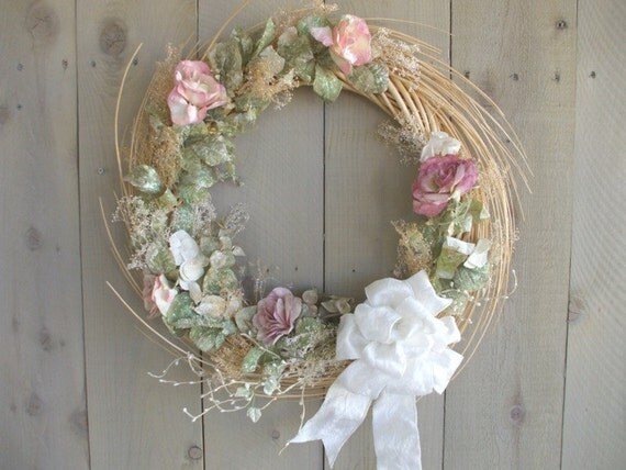 Christmas Wreath Pink Roses Victorian, Cottage chic.