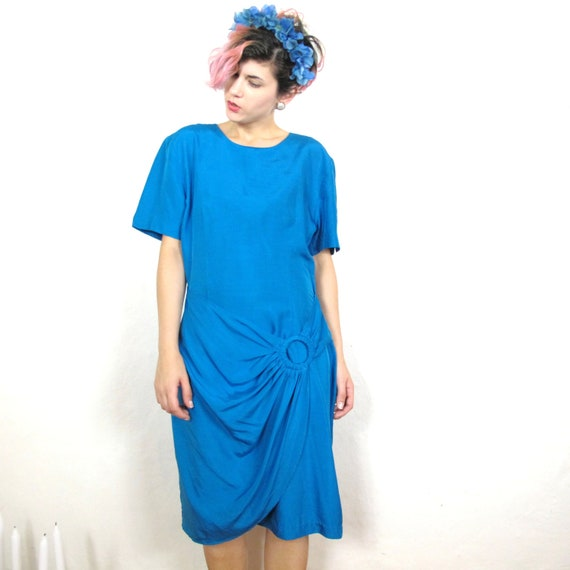 S A L E 80s True Blue Wrap Silk Dress (L)