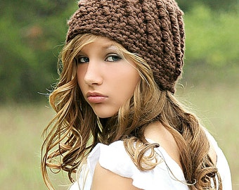 Brown Beanie Hat Beanies Chunky Hat for Women Teen Girl Fall Fashion Winter Fashion Swirl Hat Cute Brown Hat Crochet Hat by Forever Andrea