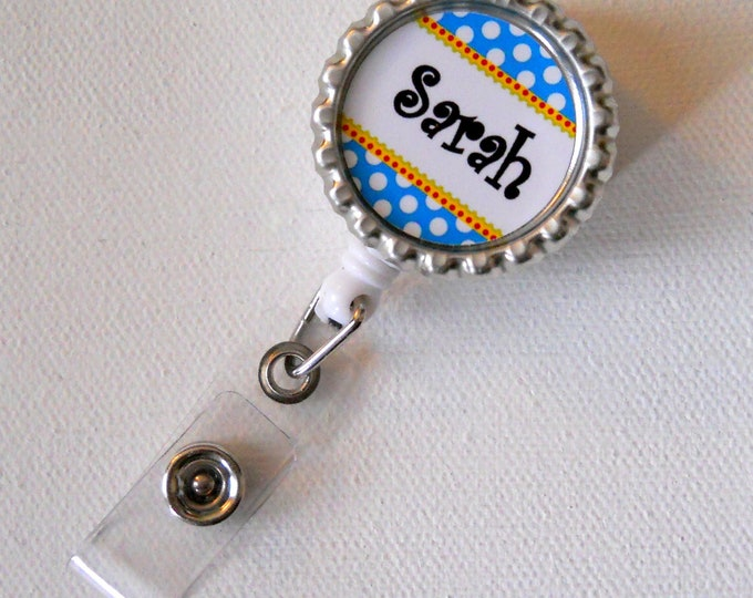 Personalized blue and white polka dot - Bottle Cap ID Badge Reel - RN Badge - Cute Badge Reels - Name Badge Holder