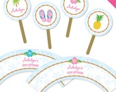 Luau theme party - Personalized DIY printable cupcake wrapper and topper set