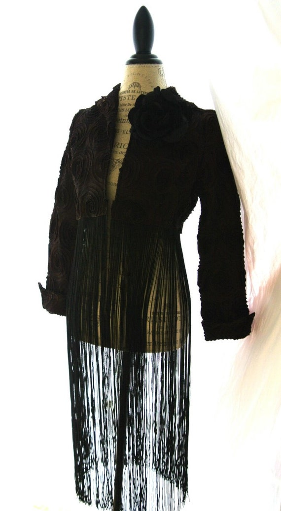 Brown boho jacket, gypsy fringe coat, retro chic, womens clothing, upcycled, true rebel clothing, women coat, stevie nicks style