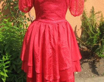 Vtg 60s Red Lace and Taffeta Deep V Back  Sheer Lace Puff Sleeves High Waist Bias Cut Tiered SPANISH LADY Formal Dress