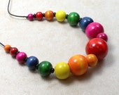 Nursing Necklace with Rainbow Wooden Beads Breastfeeding Baby Wearing