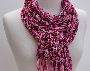 Scarf- Hand Knit- Raspberry, Silver, Mauve, Fuschia