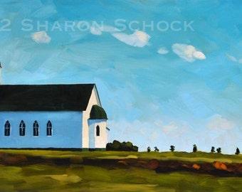 Original Landscape Oil Painting - Eureka South Dakota - 8x16 by Sharon Schock