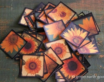 "Sunflower Stickers, 1.5"" or 2"" square stickers, 1 1/2 inch. or 2 inch, sunflower envelope seals, vintage inspired journal stickers, Recycled"