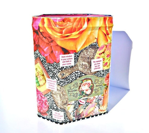 "Upcycled Marie Antoinette - Hand-Painted Victorian Decoupage Decor Canister - Edwardian Art Tin - ""Let Them Eat Cake in the Powder Room"""