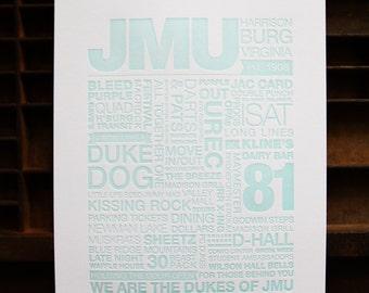 JMU Letterpress Print (Light Turquoise Ink on White Paper)