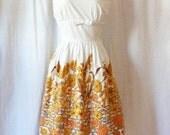 Vintage 1950s Dress Cotton Harvest Gold XL