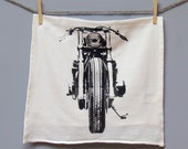 Motorcycle Tea Towel, printed in Black on White Floursack ON SALE