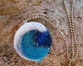 Cresting Wave: Needle Felted Pendant with Blue and White Ocean Wave and Silver Beads Ocean Themed Jewelry