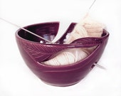 Yarn Bowl, Knitting Bowl eggplant purple large ceramic pottery yarn holder organizer storage twisted leaf by blueroompottery MADE TO ORDER