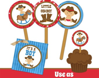 INSTANT DOWNLOAD Cowboy Baby Shower Party Circles - Cupcake Topper - Sticker - Printable
